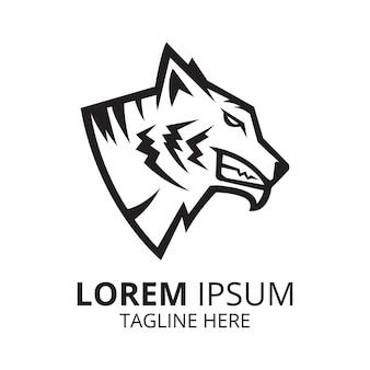 Tiger head simple line logo design vector