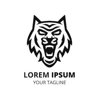 Голова тигра простая линия дизайна логотипа вектор