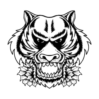 Голова тигра летние флюиды векторная иллюстрация