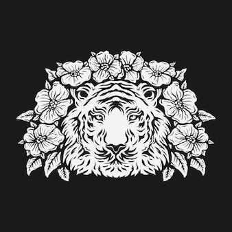 장미 꽃으로 둘러싸인 호랑이 머리. 검정색과 흰색.