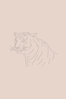 Символ головы тигра новый год 2022 минималистский силуэт животного