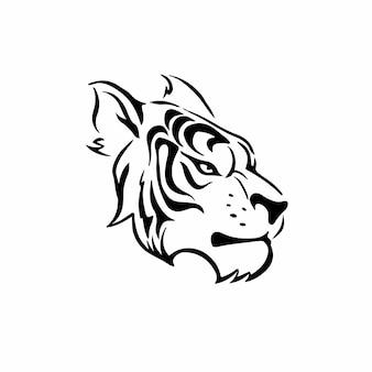 Tiger head symbol tattoo design vector illustration