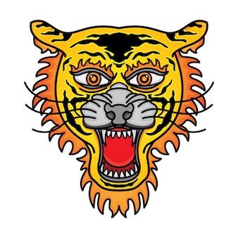 Tiger head traditional tattoo