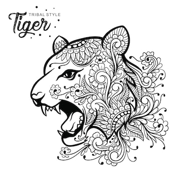 Tiger head tribal style hand drawn