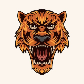 Tiger head vector illustration color open mouth
