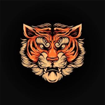 タイガーヘッドベクトルイラスト、tシャツやプリント製品に適したモダンな漫画のスタイル