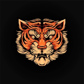 Tiger head vector illustration, modern cartoony style suitable for t shirt or print products