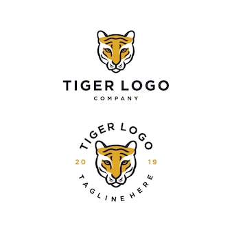 Tiger head vector logo design template