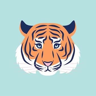 호랑이 머리 벡터 유행 그림입니다. 로고, 아이콘 개념, 호랑이 2022년 인쇄.