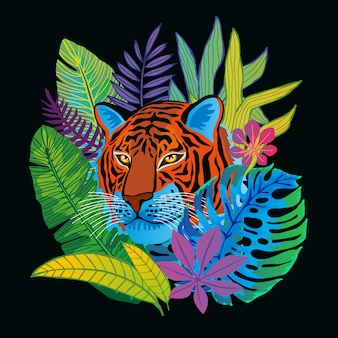 Tiger head wild cat in colorful jungle. rainforest tropical leaves background drawing. hand drawn   character art illustration