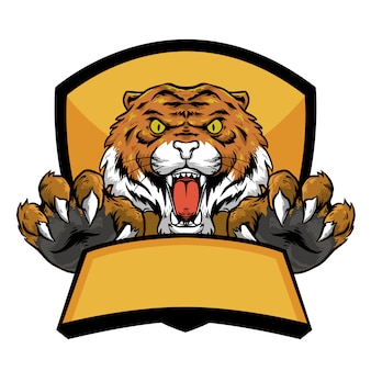 Tiger head with claw and banner emblem logo mascot design