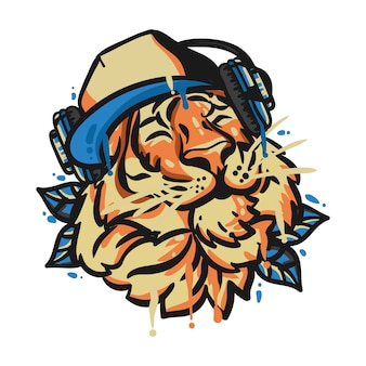 Tiger head with headphone