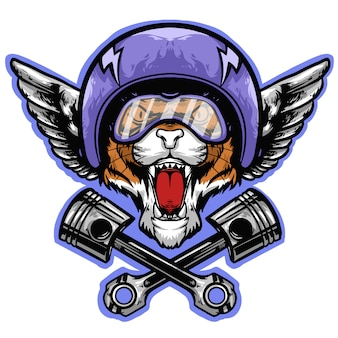 Tiger head with helmet and piston logo mascot