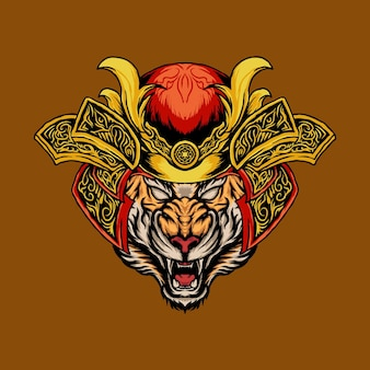 Tiger head with samurai helmet vector illustration suitable for print product or t shirt