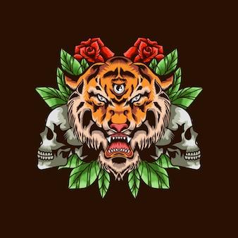 Tiger head with skull and roses illustration