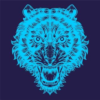 Тигр слышит штриховую иллюстрацию
