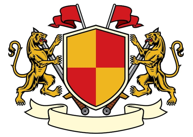 Tiger heraldry in coat of arms style