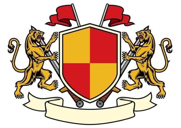 Геральдика тигра в гербовом стиле