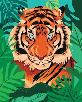 Tiger hidden in tropical jungle