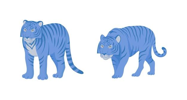 さまざまなポーズで青い色の虎のイラスト。
