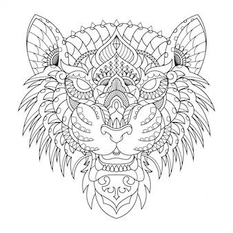 タイガーイラスト、直線的なスタイルの塗り絵のマンダラzentangle