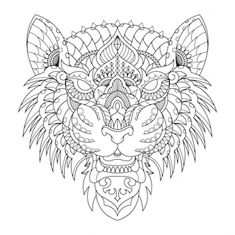 Tiger illustration, mandala zentangle in lineal style coloring book