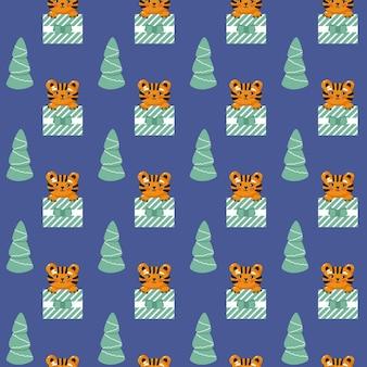 선물 상자 원활한 패턴에 호랑이 멋진 아기 반복 인쇄 크리스마스 벡터 일러스트 레이 션