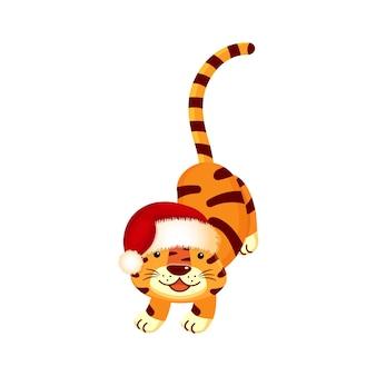 サンタの帽子をかぶった虎、遊び心のある、白い背景で楽しい孤立。