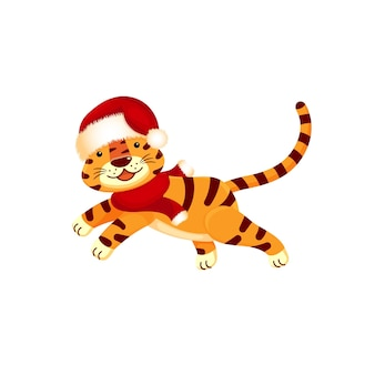 サンタの帽子をかぶった虎、走る、うれしそうな、白い背景で隔離。