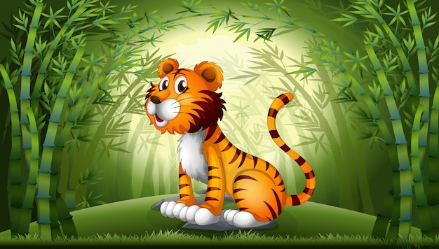 竹林の中の虎