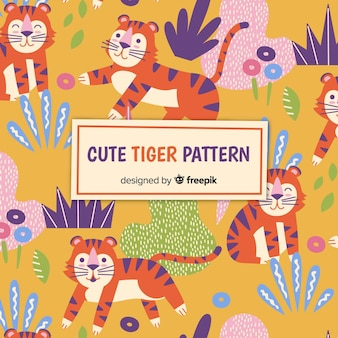 Tiger in the jungle pattern