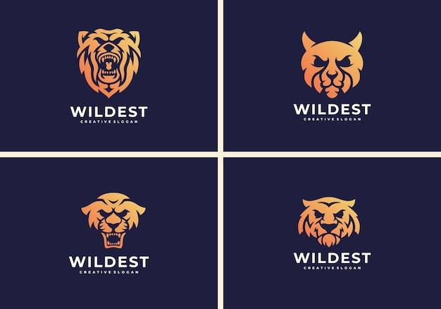 Tiger, jaguar, cheetah, bear. wild animal logo template