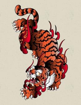 Тигр япония дизайн