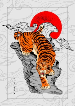 Tiger japan style tattoo background Premium Vector