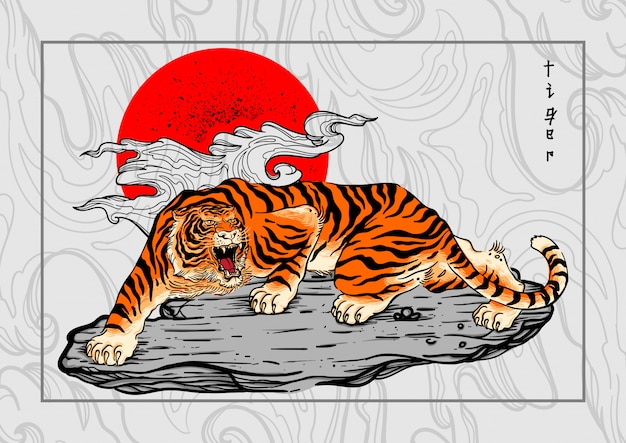 Tiger japan style tattoo background