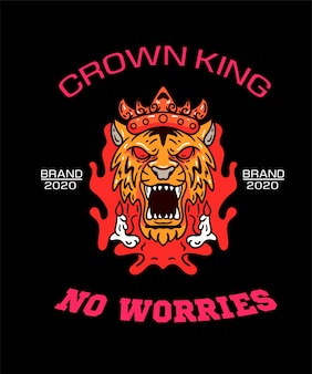 Tiger king with crown Premium Vector
