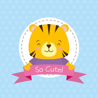 Tiger label, cute animal, cartoon and flat style, illustration