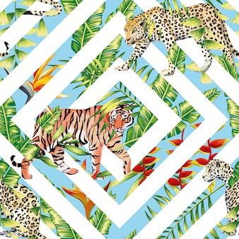 Tiger leopard seamless pattern tropical leaves geometrical