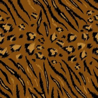 호랑이 표범 질감 원활한 동물 패턴입니다. 스트라이프 패브릭 배경 야생 동물 피부 모피입니다. 벽지, 장식용 패션 추상 디자인 인쇄. 벡터 일러스트 레이 션