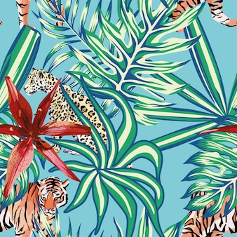 Tiger leopard tropical leaves lily seamless background blue