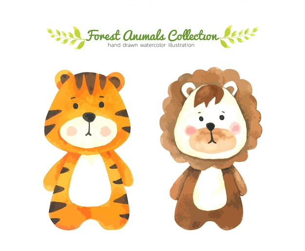 Tiger and lion cartoon watercolor, forest animal hand drawn painted character for kids