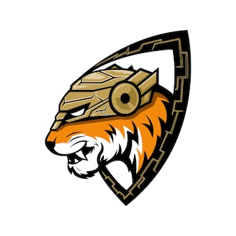 Иллюстрация дизайна логотипа тигра. идеально подходит для спортивных логотипов, игр, футболок.