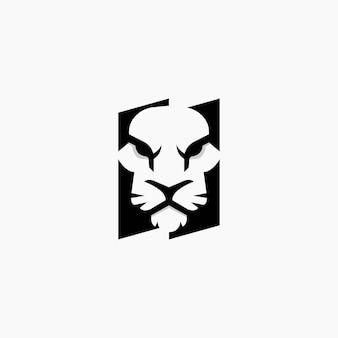 호랑이 로고 디자인 부정적인 공간. 호랑이 로고 디자인 서식 파일.