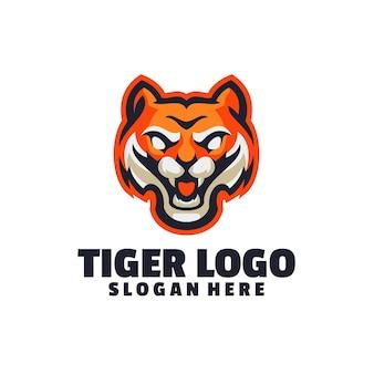 白で隔離される虎のロゴ