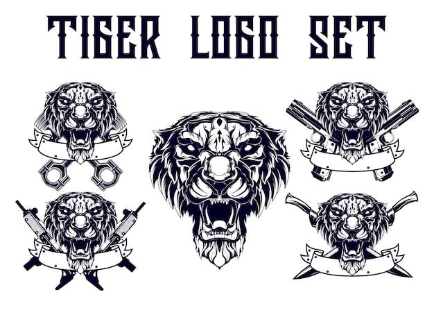 Tiger logo set with weapon theme