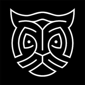 Tiger logo with monoline line art