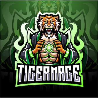 Tiger mage esport mascot logo design