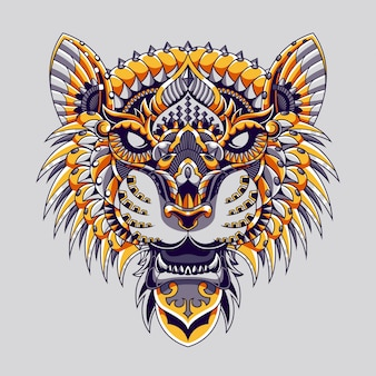 Tiger mandala zentangle illustration and tshirt design premium vector