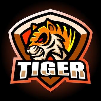 Тигр талисман киберспорт дизайн логотипа