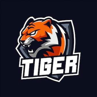 分離されたスポーツとeスポーツのロゴのタイガーマスコット